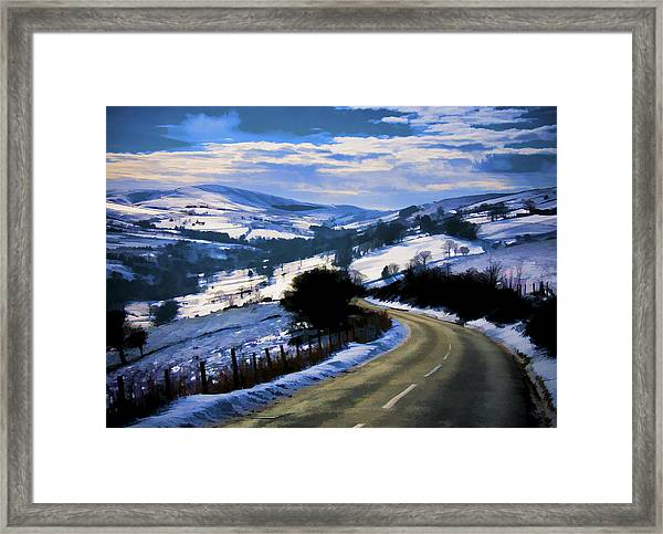 Snowy Scene And Rural Road Framed Print