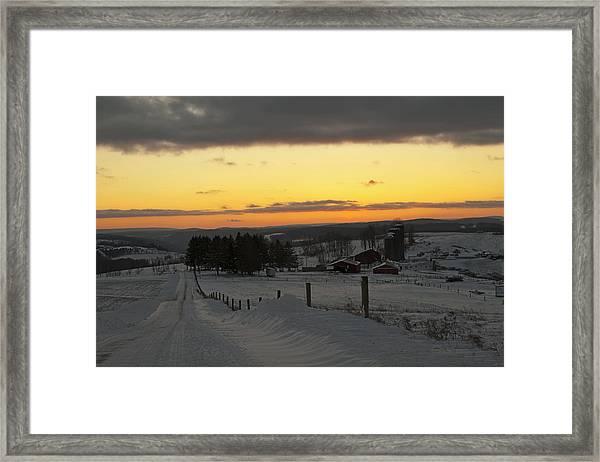 Snowy Pennsylvania Sunset Framed Print