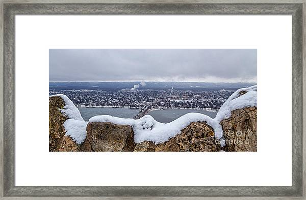 Framed Print featuring the photograph Snowy View From Garvin Heights Winona by Kari Yearous