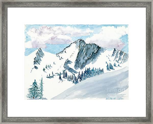 Snowy Wasatch Peak Framed Print