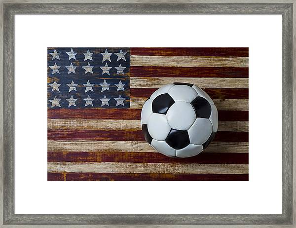Soccer Ball And Stars And Stripes Framed Print