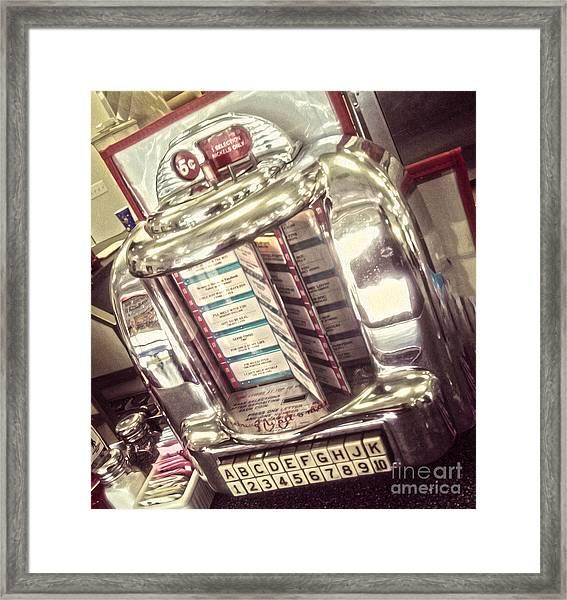 Soda Fountain Juke Box Framed Print