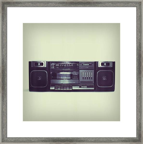 Soft Black Boombox Centered With White Framed Print