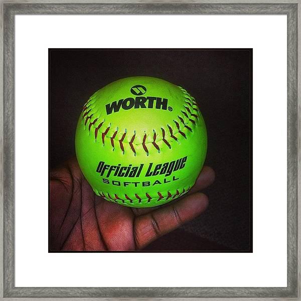 #softball #bored #catchatwork  #neon Framed Print