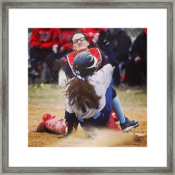 #softball Girls Go In! Www.premosch.com Framed Print