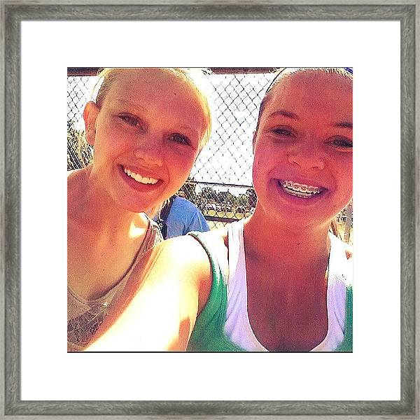 Softball In Iowa With :-) With Framed Print