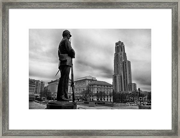 Soldiers Memorial And Cathedral Of Learning Framed Print