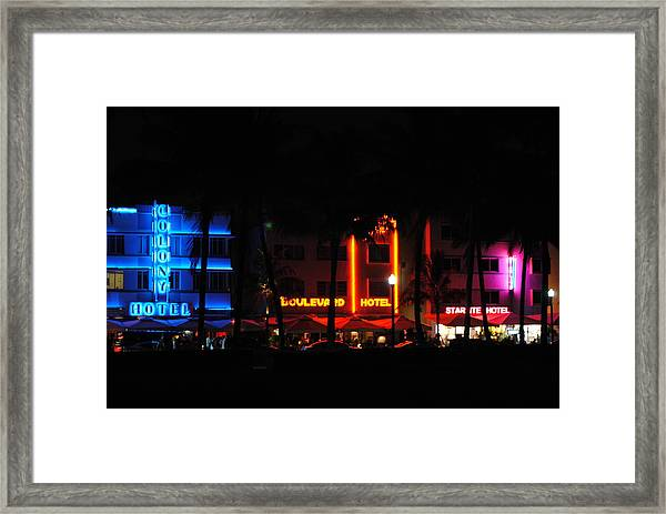 South Beach Hotels Framed Print