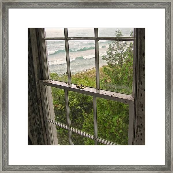 South Manitou Island Lighthouse Window Framed Print