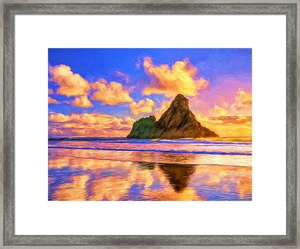 South Pacific Sunset Framed Print