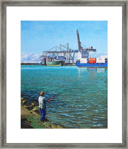 Southampton Western Docks Container Terminal As Seen From Marchwood Framed Print