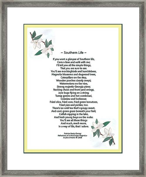 Southern Life Framed Print by Patricia Neely-Dorsey