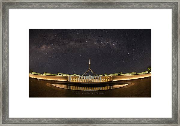 Southern Sky Parliament House  Framed Print by Andrew Prince