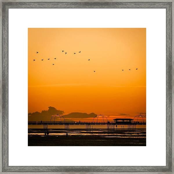 Southport Pier At Sunset Framed Print