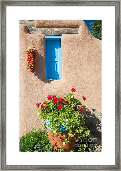 Southwest Adobe Building With Blue Window And Chili Peppers Framed Print