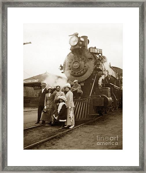 S P Baldwin Locomotive 2285  Class T-26 Ten Wheel Steam Locomotive At Pacific Grove California 1910 Framed Print