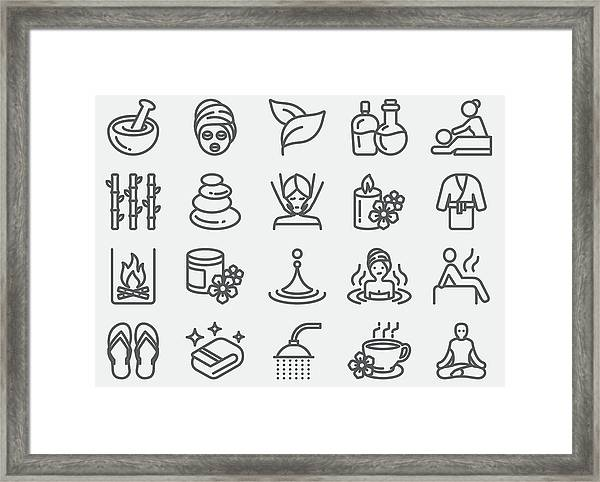 Spa Massage And Wellness Line Icons Framed Print by LueratSatichob