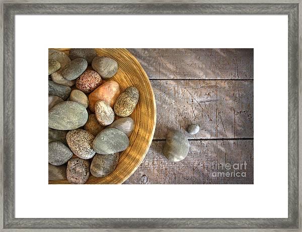 Spa Rocks In Wooden Bowl On Rustic Wood Framed Print