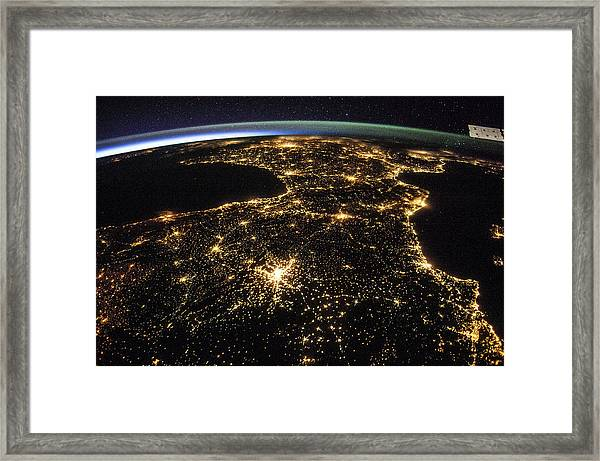 Space And France At Night Framed Print by Nasa