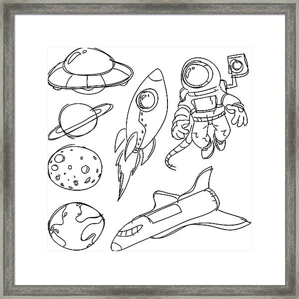 Space Catoon Collection Framed Print by LokFung