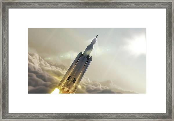 Space Launch System Launch Framed Print by Nasa/msfc