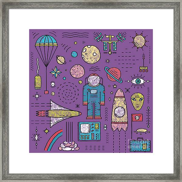 Space Planets Stars Cosmonaut Design Framed Print by Popmarleo