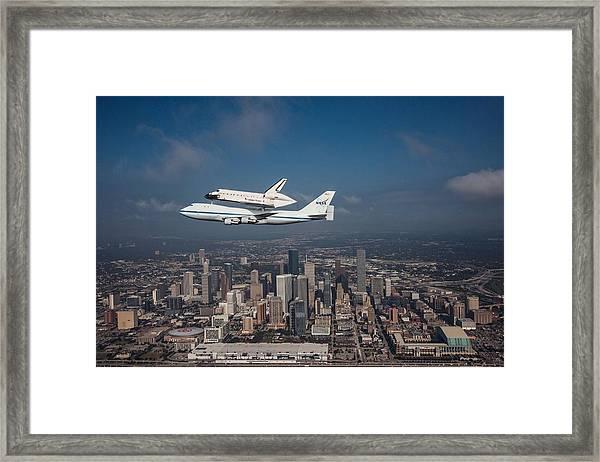 Space Shuttle Endeavour Over Houston Texas Framed Print