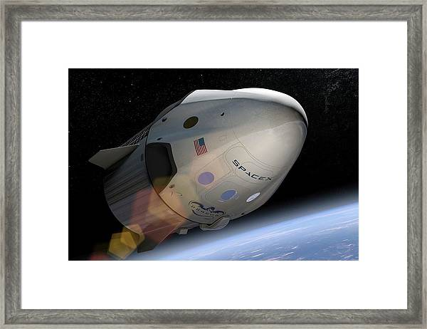 Spacex's Crew Dragon In Orbit Framed Print