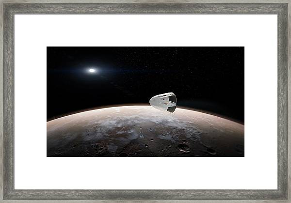 Spacex's Red Dragon At Mars Framed Print by Spacex/science Photo Library