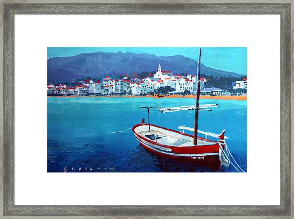Spain Series 08 Cadaques Red Boat Framed Print
