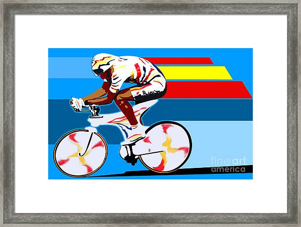 spanish cycling athlete illustration print Miguel Indurain Framed Print