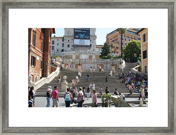Spanish Steps With People Framed Print by Pejft