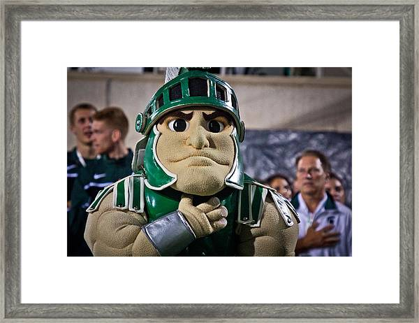 Sparty And Izzo National Anthem  Framed Print