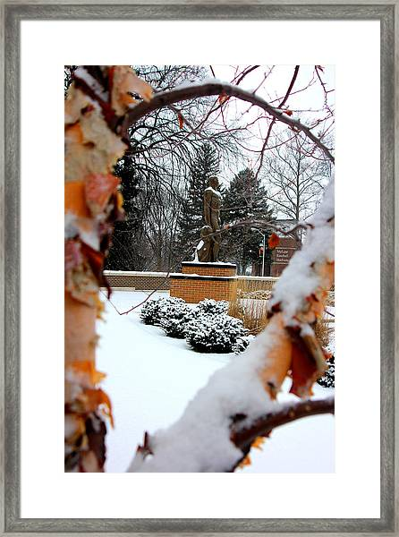Sparty In The Winter Framed Print