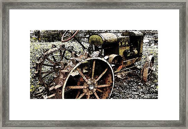 Speckled Antique Tractor Framed Print