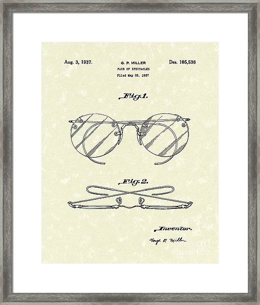 Spectacles 1937 Patent Art Framed Print