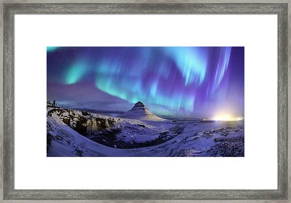 Spectacular Northern Lights Appear Over Mount Kirk Framed Print by Ratnakorn Piyasirisorost