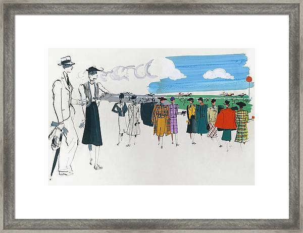 Spectators At A Horse Race Framed Print by Jean Pages