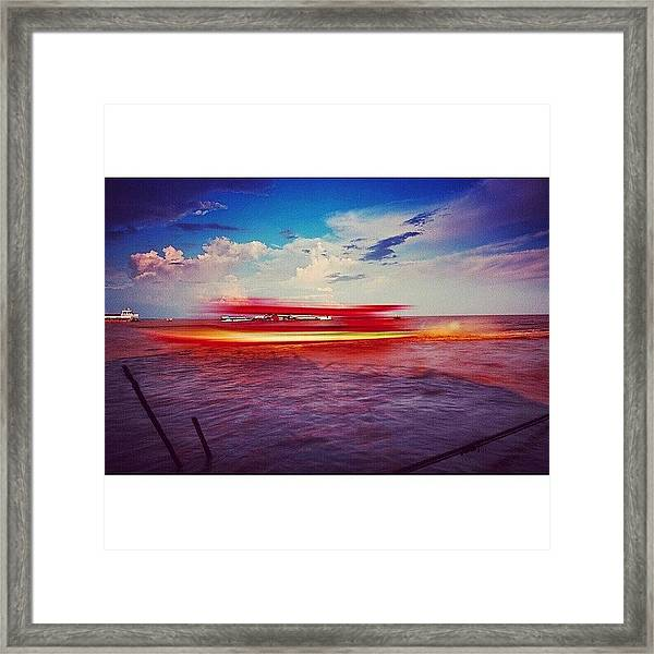 Speed Boat Passing The Floating Village Framed Print