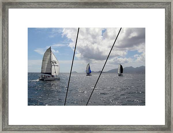 Framed Print featuring the photograph Spinnakers In The Seychelles by Debbie Cundy
