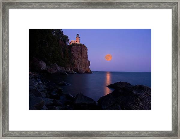 Split Rock Lighthouse - Full Moon Framed Print