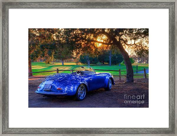 Sports Car Golf Course Sunset Framed Print