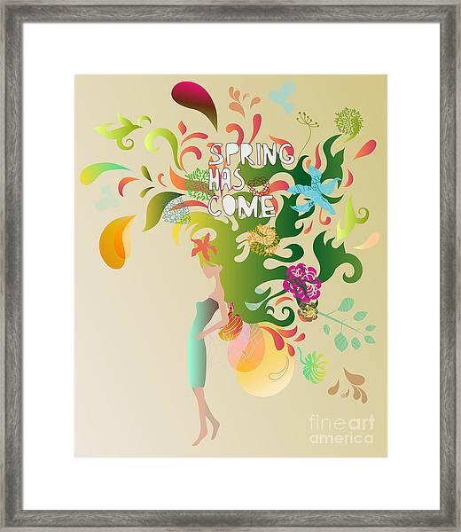 Spring Floral Girl Illustration Framed Print