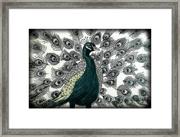 Spring Green Peacock Framed Print