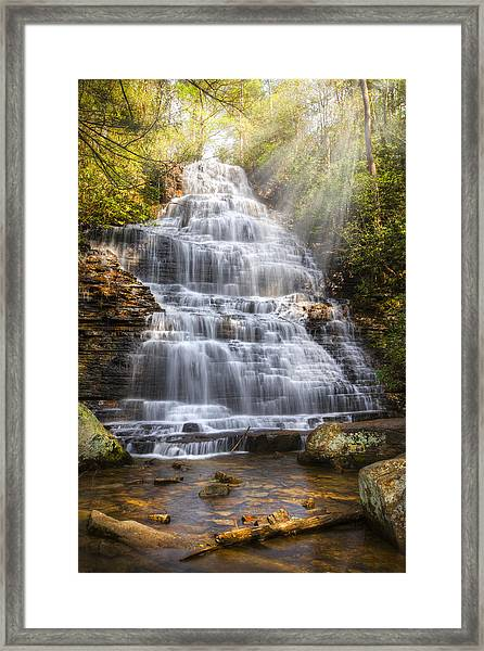 Framed Print featuring the photograph Springtime At Benton Falls by Debra and Dave Vanderlaan