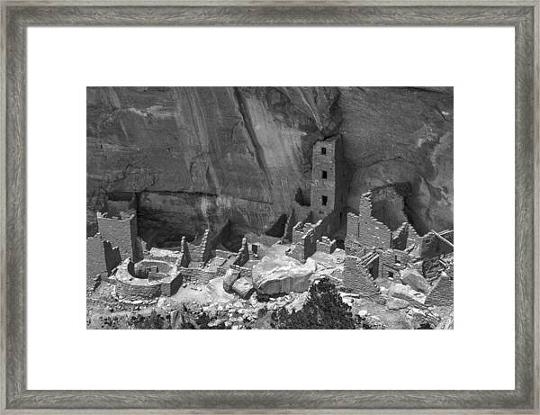 Square Tower At Mesa Verde Bw Framed Print