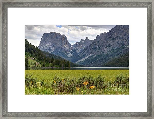 Squaretop Mountain And Upper Green River Lake  Framed Print