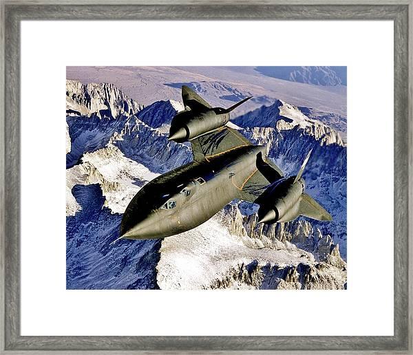 Sr-71 Over The Sierras Framed Print