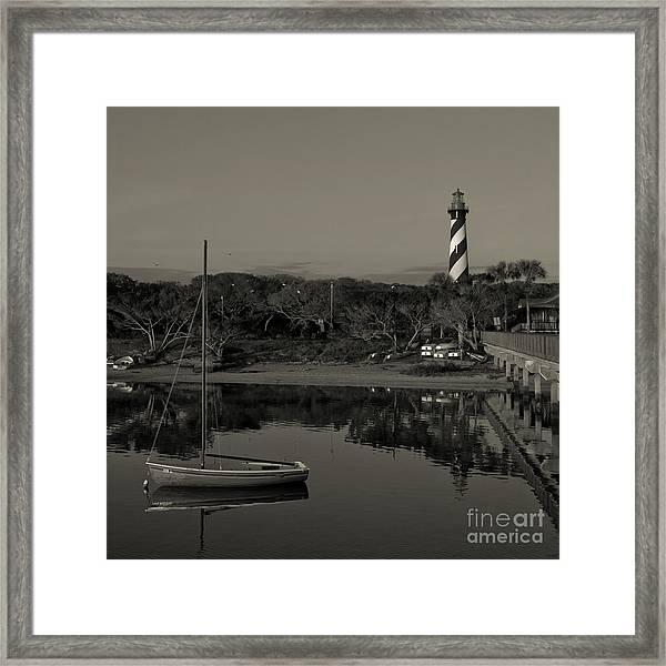 St. Augustine Lighthouse Beach Early Morning Monochrome Framed Print