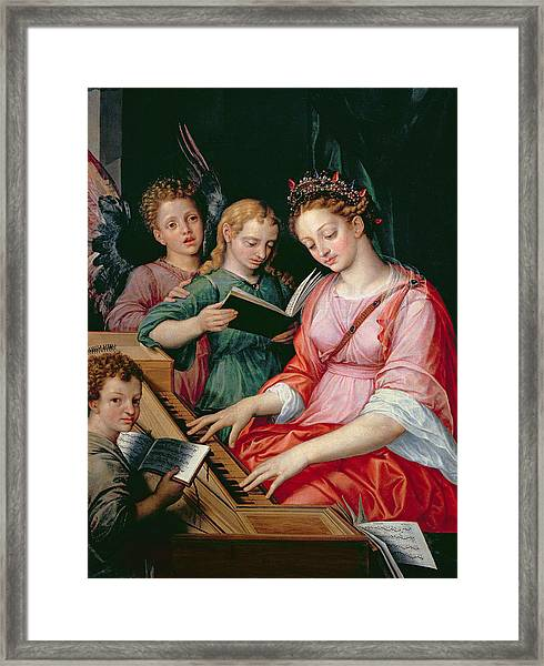 Saint Cecilia Accompanied By Three Angels Framed Print